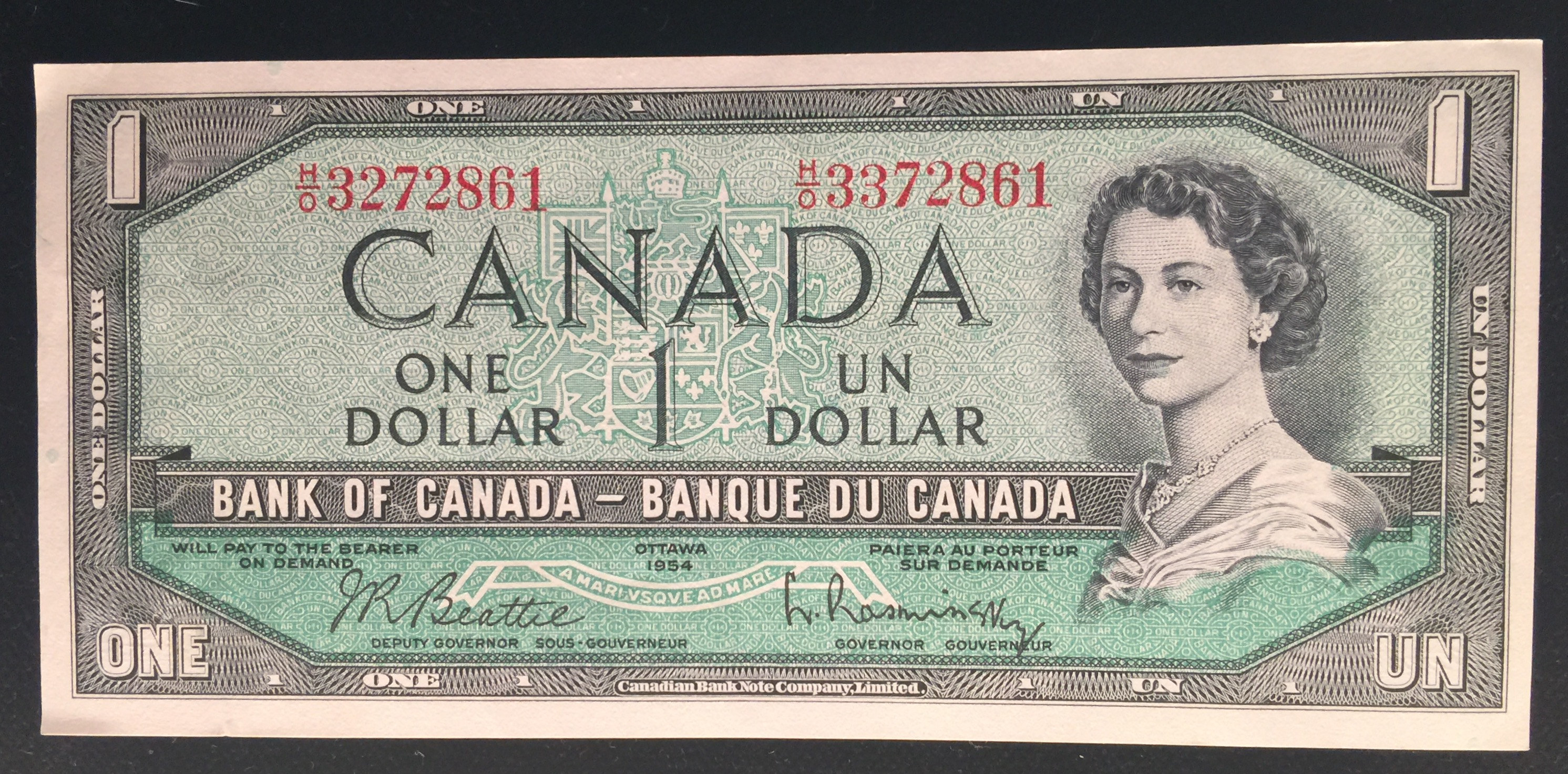 KMG Gold Recycling 1954 Canada Mismatched Serial Number One Dollar Note