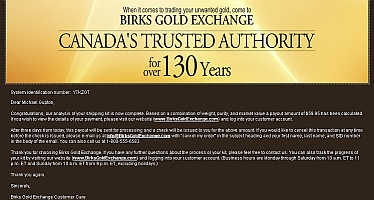 offer we received from Birks Gold Exchange. KMG Gold. We Buy Gold. Sell Your Gold and Get Highest Price. Sell Silver, Sell Platinum, Sell Rhodium. Vancouver, Winnipeg, Edmonton, Toronto, Victoria, Canada. Gold Buyer. Get Cash For Gold 877-468-2220